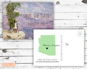 Save The Date Announcement Photo Postcard with Personailzed City and State
