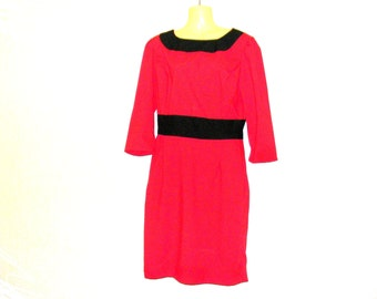 Shopping - Clothes -1950s dress, red dress, pencil dress, knee length dress, size 14, size 12, by rebeccas Clothes