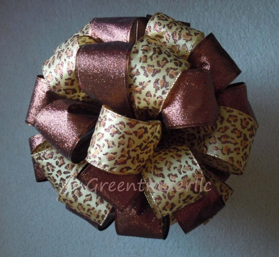 Brown Leopard Christmas Tree Top Bow Chocolate Brown Leopard Wedding bow Animal Themed Party Decoration Leopard Topper gift bow
