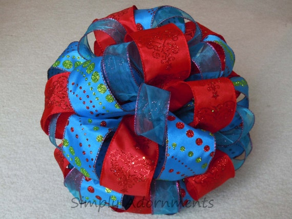 Red Blue Christmas Bow Turquoise Red Christmas Tree Topper Bow Sparkle Glitter Christmas Polka Dots Bow Winter Holidays Present Gifts Bow