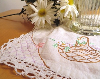 Shabby Lace Trimmed Hand Embroidered Doily to Add to Quilt, Apron or Pillow Top