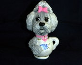 Shih Tzu Pup-in-a-Teacup Gourd Figurine or Ornament