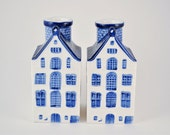 2 Vintage Delft Blue House Ceramic Candle Holders Blue and White Made in Korea