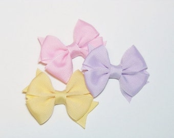 Set of 3 Mini Baby Hair Bows, Pastel Baby Hair Bows, Set of 3 Infant Hair Bows