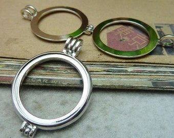 2PCS nickel 30mm pendant trays double sided round bezel cabochon mountings- XC7619