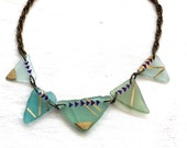 Seaglass Necklace - Hand painted five-piece statement necklace