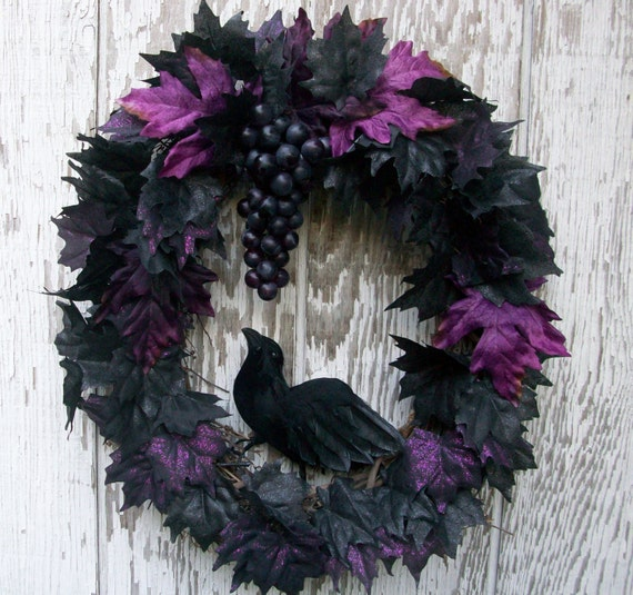 Black Flower And Crow Halloween Wreath: Autumn Wreath Black Wreath Fall Holiday Décor Purple