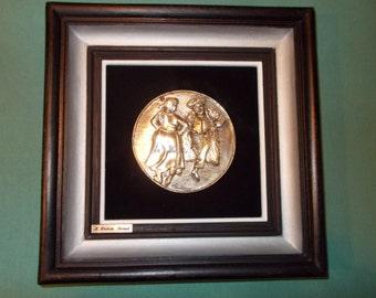 One (1), Sterling Silver, Framed Medallion, of Israeli Man & Woman Dancing, from A. Kemem, Israel.