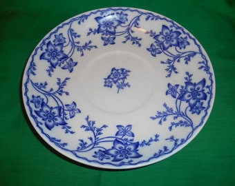 "One (1), Bone China, 8 7/8"" Round Tureen Underplate, from Minton, in the Flow Blue, Anemone Pattern."