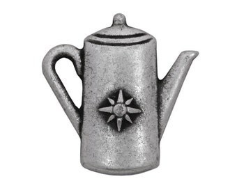 3 Starburst Coffee Pot 13/16 inch ( 21 mm ) Metal Buttons Antique Silver Color