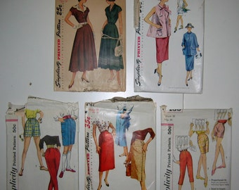 Vintage 1950s Sewing Patterns by Simplicity --  Choose From 5 Womens' patterns