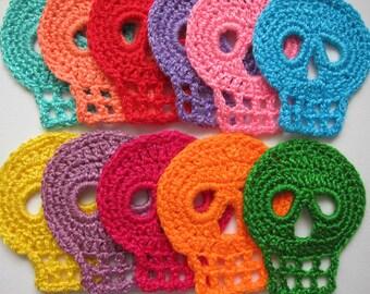"""1pc 2.5"""" or 4"""" Crochet SKULL Applique"""