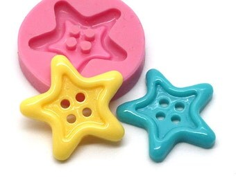 Star Shape Button 22mm Craft Mold Silicone Puch Cookie Cupcake Candy Chocolate Food Safe 671m* BEST QUALITY