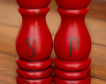 CHOOSE YOUR COLOR - Painted,Distressed, Wooden Salt and Pepper Shaker Set - Emporer's Silk