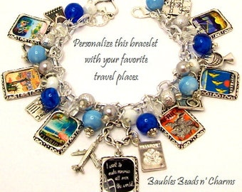 Personalized Travel Charm Bracelet Jewelry, Custom Travel Charm Bracelet, Love to Travel Charm Bracelet, Favorite Travel Posters