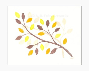 Autumn Leaves Original Watercolor Painting, Brown and Yellow Fall Leaf Nature Decor, Watercolour Tree Branches Art, 8X10