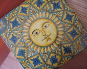 Handpainted decorative ceramic maiolica tile with sun and floral pattern, measuring 30x30 cm/11,8x11,8 inch.