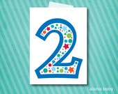 Birthday candle photo prop printable - number 2 boy
