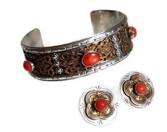 Southwestern Silver Cuff Bracelet & Earrings Vintage Red Coral Filigree Sterling Overlay Tribal Jewelry Boho Gift