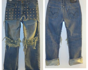 Levis Studded Distressed Open Thigh Jeans