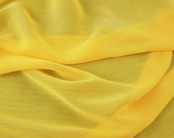 Yo-yo Crinkle Chiffon FC10482 Lemon 60 Inch Fabric By the Yard.