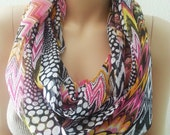 Tribal Scarf, Printed Fashion Scarf, Geometric Multi Color Scarf,  Pink Black Autumn Colors, Zig Zag Chevron, Trending Items Gift under 15
