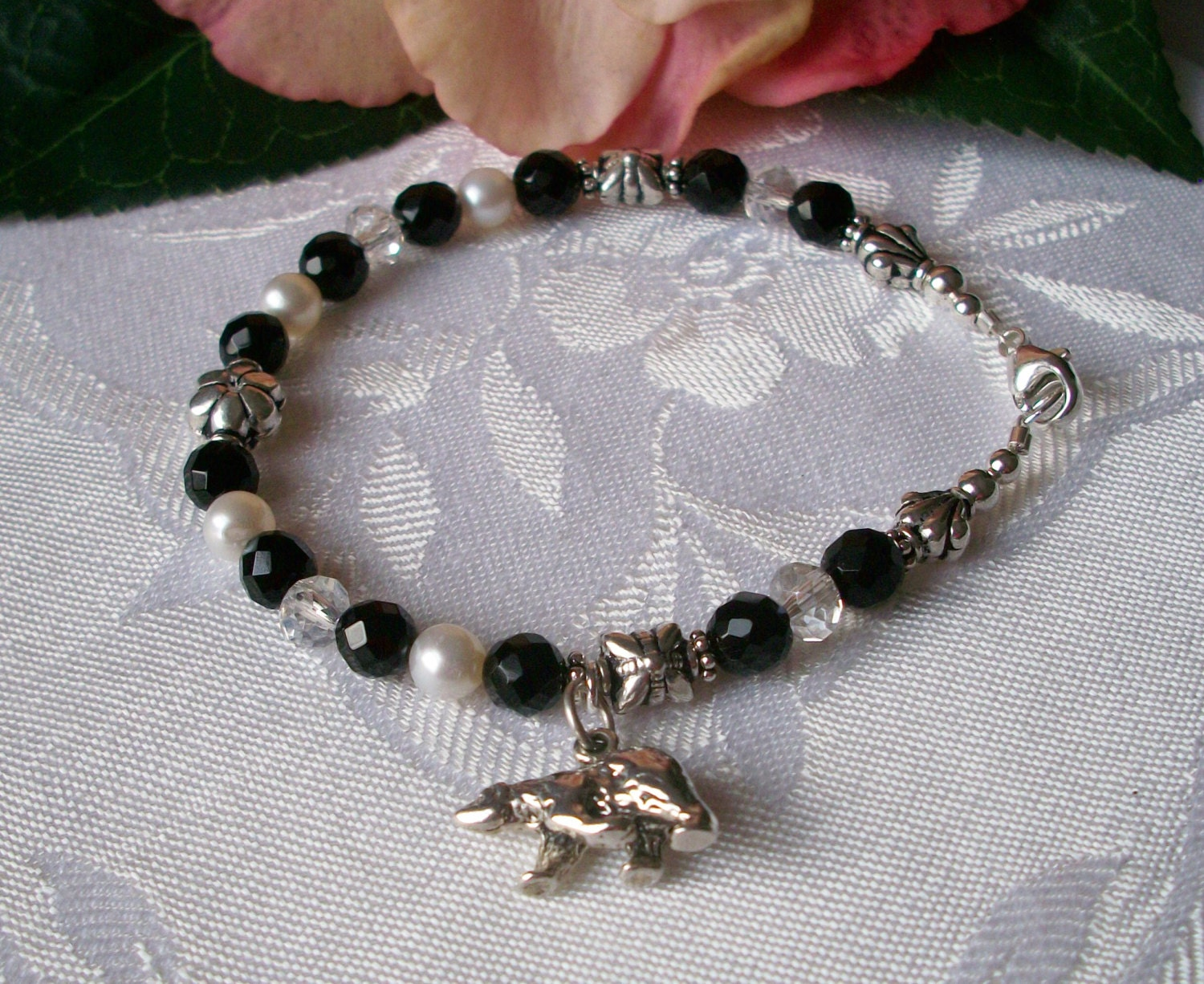 black white polar charm bracelet by alicesfavorites