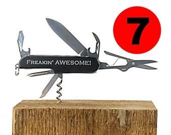 7 Groomsmen Gifts Engraved Pocket Knives, Laser Engraved Black Multi Tools Multitool Knives, Best Man Gift, Usher, Ring Bearer