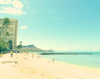 beach photo, hawaii photograph, midcentury Retro hotel print, Waikiki Beach, Surfing, Ocean, Mint green and gold, Travel, wall decor