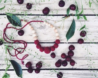 Solid color Nursing necklace cherry crochet teething beads