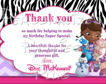 Doc McStuffin Thank you cards: Zebra print and hot pink, chevron print, polka dots