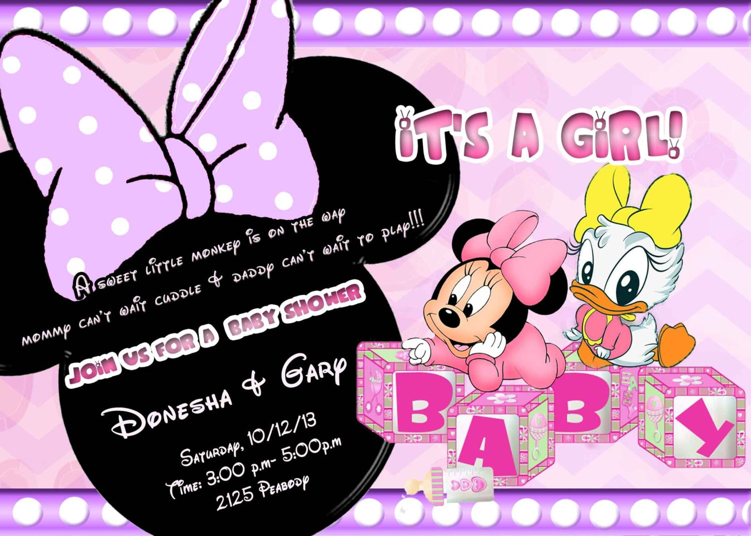 minnie mouse and daisy duck baby shower invitations by partiesplus