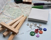 Custom Mini Map Canvas Mixed Media Art & Mini Easel