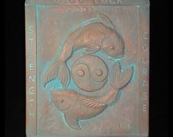 Koi / Yin Yang copper Limited Edition garden plaque