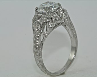 14kt White Gold and Diamond Edwardian Style Hand Engraved Engagement Ring with 1.35ct Moissanite Center