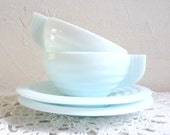 Vintage Pair of ICE BLUE Milk Glass Cup and Saucers, Art Deco Style, French Retro Cups.