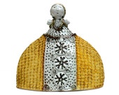 """Woman Figure,Ceramic Sculpture  """" Lady In A Yellow Dress """" ,Mustard White"""
