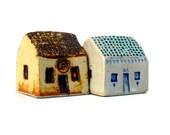 Ceramic Sculpture  Miniature Houses,  Cottages
