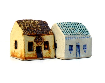 Ceramic Sculpture  Miniature Houses,  Cottages