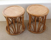 RESERVED - Vintage Bamboo and Rattan Round Side Tables