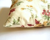 "Shabby Chic Home - Linen Cream Pillow Covers with Claret Red, Brown and Green Floral Print - 18x18"" - Gift for Her, for Mom"