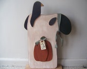 Large Primitive Wooden Standing Sheep With Pumpkin And Crow Fall Decor