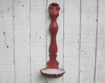 Vintage Bird Feeder Cast Iron Ladle Wall Decor