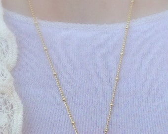 """Long Gold Plated Beaded Chain 30"""""""