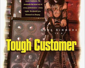"KISS Gene Simmons ""Tough Customer"" Ampeg Amplifiers Stand-Up Display - Rock Band Collectibles Collection Music Memorabilia Gift Idea Retro"