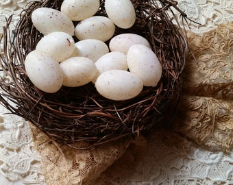 One Dozen Vintage Tiny Speckled Robin Eggs