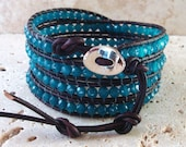 Apatite 4mm Round Faceted Beaded Leather 4-Wrap Handmade Bracelet