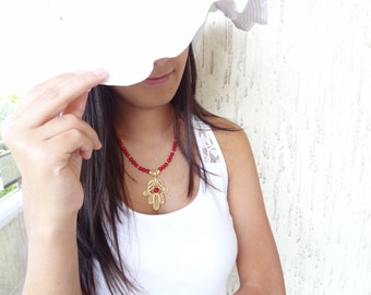 Red Coral Hamsa Necklace, Gold Plated Necklace,   Feminine ,