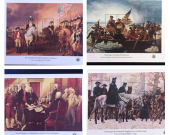 US Bicentennial 1976 Issue Postal Service Mini Sheets George Washington American Revolution MNH Set of 4 Philately // Usable as Postage