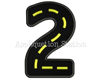 Road Number Two 2nd Birthday Applique Machine Embroidery Design boy 2 INSTANT DOWNLOAD